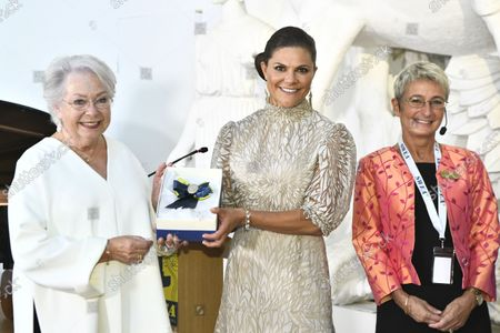 Crown Princess Victoria receives SWEA International's Swedish Woman of the Year Award from Princess Christina, Mrs Magnuson, and Suzanne Southard, International President SWEA, during a ceremony held at Millesgarden in Stockholm, Sweden, on September 09, 2021.