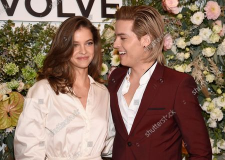 Barbara Palvin, left, and Dylan Sprouse attend the Revolve Gallery New York Fashion Week event at Hudson Yards, in New York