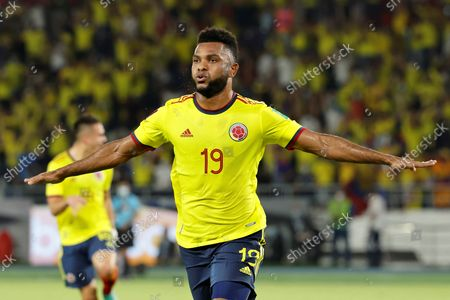 Colombia's Miguel Borja celebrates after scoring during the soccer match of the South American qualifiers for the Qatar 2022 World Cup between Colombia and Chile, at the Metropolitano Stadium in Barranquilla, Colombia, 09 September 2021.