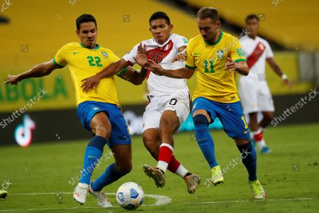 Stock Photo of Brazil's Lucas Verissimo (L) and Everton Ribeiro (R) in action against Peru's Edison Flores during a South American qualifiers match for the Qatar 2022 World Cup between Brazil and Peru at the Arena Pernambuco in Recife, Brazil, 09 September 2021.