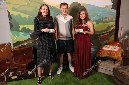 (Mrs Hall) Anna Madeley, (Tristan Farnon) Callum Woodhouse and (Helen Alderson) Rachel Shenton