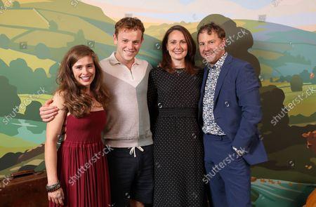 (Helen Alderson) Rachel Shenton, (Tristan Farnon) Callum Woodhouse, (Mrs Hall) Anna Madeley and (Siegried Farnon) Samuel West
