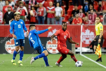 Junior Hoilett, No.10, of Team Canada in action against Narciso Orellana, No.6, of Team El Salvador during the CONCACAF World Cup Qualifying 2022 match at BMO Field in Toronto, Canada. Canada won 3-0.