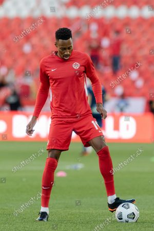 Mark-Anthony Kaye of Team Canada during the warm up before the CONCACAF World Cup Qualifying 2022 match against Team El Salvador at BMO Field in Toronto, Canada