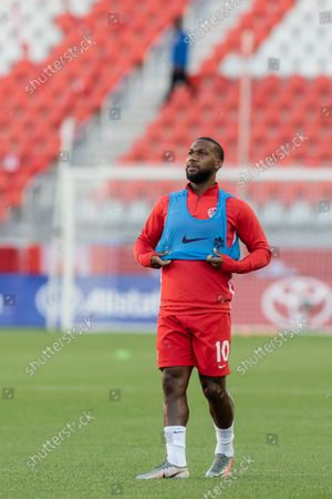 Junior Hoilett of Team Canada during the warm up before the CONCACAF World Cup Qualifying 2022 match against Team El Salvador at BMO Field in Toronto, Canada