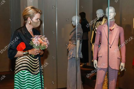 Stock Picture of Queen Mathilde of Belgium visits the ModeMuseum in Antwerpen, Belgium, 10 September 2021. The Museum was founded on 21 September 2002 and was recently renovated and reopened its doors on 04 September. It collects, preserves, studies and exhibits Belgian fashion such as Belgian fashion Designer Dries Van Noten.