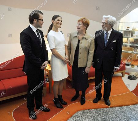 Prince Daniel, Crown Princess Victoria of Sweden, Finnish President Mrs Tarja Halonen and her husband Dr Pentti Arajarvi