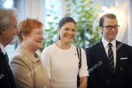Dr Pentti Arajarvi, Finnish President Mrs Tarja Halonen, Crown Princess Victoria of Sweden and Prince Daniel