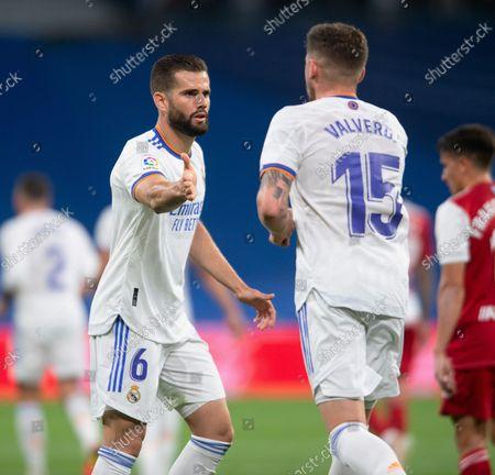 Nacho Fernandez congratulates Fede Valverde during the game; Estadio Santiago Bernabeu, Madrid, Spain; La Liga, Real Madrid CF versus RC Celta de Vigo.