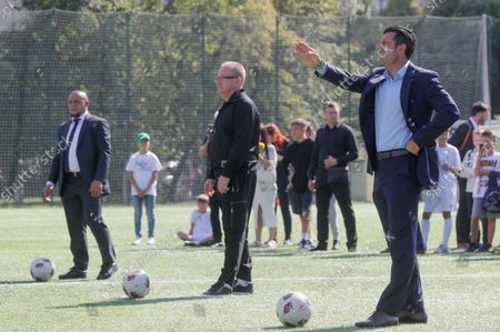 Luis Figo (R), the former Portuguese  professional footballer and Real Madrid player, with Roberto Carlos (L), former Brazilian professional footballer and ambassador of Real Madrid Foundation, during the kick off  for a symbolic soccer game during the opening ceremony of the Real Madrid Foundation soccer school in the Kiev, Ukraine, 10 September 2021. Spanish LaLiga club Real Madrid CF develops its social and cultural  programmes with Real Madrid Foundation which unites more than 450 football schools in 80 countries. Real Madrid Foundation helps to promote the values inherent in sport, and its role as an educational tool both in Spain as well as abroad.