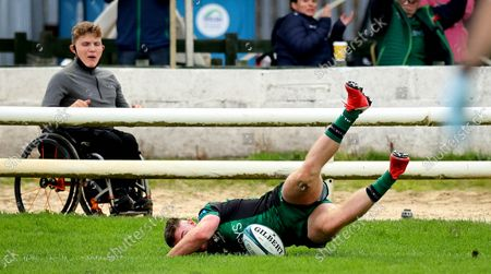 Stock Image of Connacht vs London Irish. ConnachtÕs Peter Sullivan scores his sideÕs second try of the game