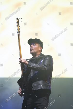 Stock Image of Bass player Tom Chapman on stage as New Order play Heaton Park, Manchester, England, Friday, September 10, 2021. (Photo/Jon Super)