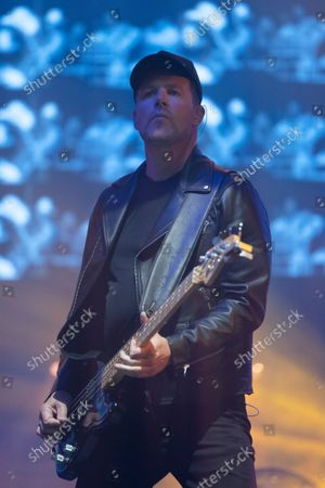 Bass player Tom Chapman on stage as New Order play Heaton Park, Manchester, England, Friday, September 10, 2021. (Photo/Jon Super)