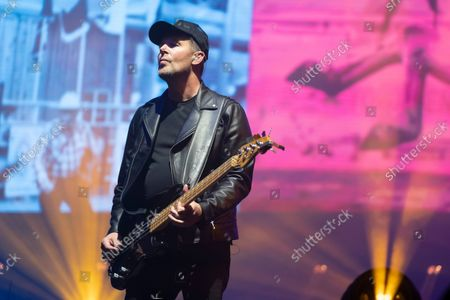 Stock Picture of Bass player Tom Chapman on stage as New Order play Heaton Park, Manchester, England, Friday, September 10, 2021. (Photo/Jon Super)