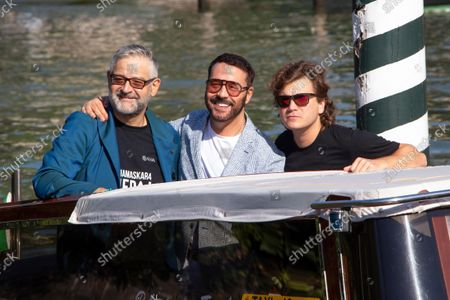 Fortunato Cerlino, Jeremy Piven and Emile Hirsch arrive at the Excelsior Hotel peer during the 78th Venice International Film Festival on