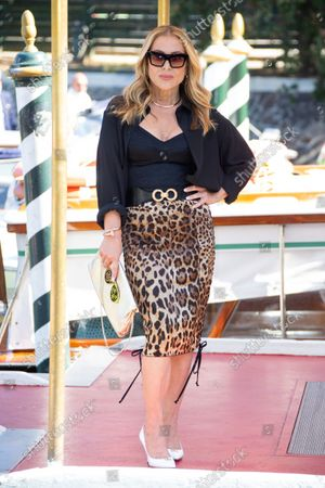 Stock Picture of Anastacia poses for photographers upon arrival at the 78th edition of the Venice Film Festival in Venice, Italy