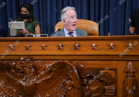 House Ways and Means Committee Chairman Richard Neal, D-Mass., gathers members of his panel at the Capitol in Washington, . The committee is holding a markup hearing to craft the Democrats' Build Back Better Act, massive legislation that is a cornerstone of President Joe Biden's domestic agenda