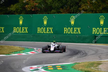 Mick Schumacher of Uralkali Haas F1 Team drive his VF-21 single-seater during qualifying of Italian GP, 14th round of Formula 1 World Championship in Autodromo Internazionale di Monza, in Monza, Lombardia, Italy, 10 September 2021