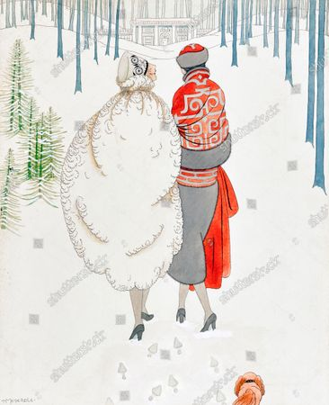 Two models stand close together with their backs to the viewer; they are in a winter scene of snow and pine trees and in the background is a colonial house; the model on the left is wearing a white fur cape and a floral embroidered toque hat; the woman to her right is wearing a cape of gray and orange with an art deco design, the bottom half of the cape is gray fur and there is an orange sash low on the waist. She is wearing a matching cap; the women's footprints are left in the snow and a small dog is running after them.
