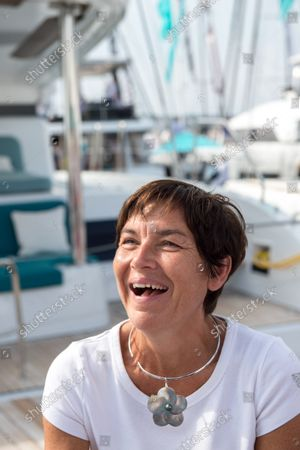 """Annick Girardin seen laughing during the festival. Annick Girardin (minister of the sea) inaugurated and visited the Cannes Yachting Festival.  Canceled in 2020 because of the Coronavirus pandemic, it is the biggest """"boat show"""" in Europe. More than 560 new boats will be exhibited, of which nearly 150 will be world premieres. For the first time, a """"green"""" course is set up following the obligation voted by law to reserve 1% of the places in port for electric boats in French ports."""