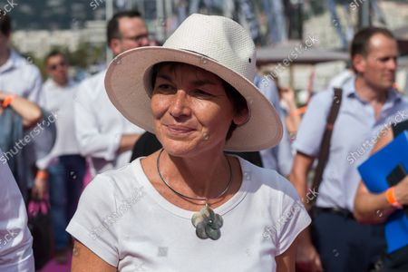 """Annick Girardin is seen with a hat to protect herself from the sun during the festival. Annick Girardin (minister of the sea) inaugurated and visited the Cannes Yachting Festival.  Canceled in 2020 because of the Coronavirus pandemic, it is the biggest """"boat show"""" in Europe. More than 560 new boats will be exhibited, of which nearly 150 will be world premieres. For the first time, a """"green"""" course is set up following the obligation voted by law to reserve 1% of the places in port for electric boats in French ports."""