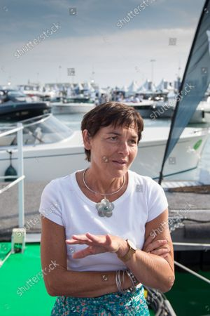 """Annick Girardin is seen during the festival. Annick Girardin (minister of the sea) inaugurated and visited the Cannes Yachting Festival.  Canceled in 2020 because of the Coronavirus pandemic, it is the biggest """"boat show"""" in Europe. More than 560 new boats will be exhibited, of which nearly 150 will be world premieres. For the first time, a """"green"""" course is set up following the obligation voted by law to reserve 1% of the places in port for electric boats in French ports."""