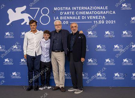 From Left, Lino Musella, Giuseppe Pirozzi Roberto Ando, and Silvio Orlando pose for photographers at the photo call for the film 'Il Bambino Nascosto' during the 78th edition of the Venice Film Festival in Venice, Italy