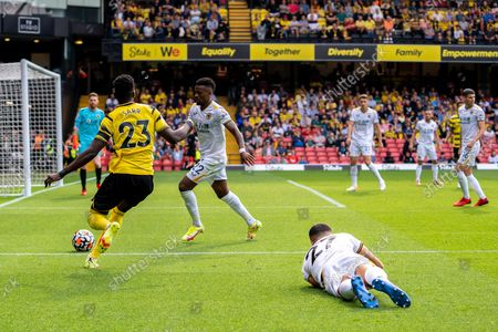 Watford forward Ismaila Sarr (23) in action during the Premier League match between Watford and Wolverhampton Wanderers at Vicarage Road, Watford