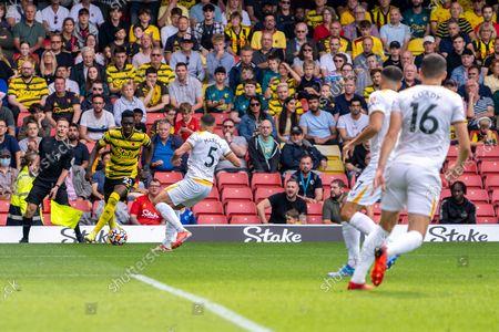 Watford forward Ismaila Sarr (23) attacks during the Premier League match between Watford and Wolverhampton Wanderers at Vicarage Road, Watford