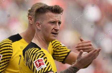 Dortmund's Marco Reus got a cut in his face during the German Bundesliga soccer match between Bayer Leverkusen and Borussia Dortmund in Leverkusen, Germany