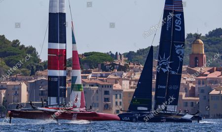 Great Britain SailGP Team helmed by Ben Ainslie and USA SailGP Team helmed by Jimmy Spithill in action on Race Day 1, France SailGP, Event 5, Season 2 in Saint-Tropez, France. 11 September 2021.