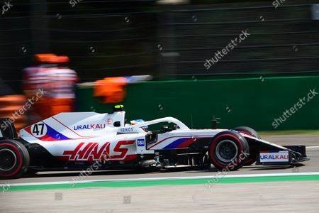 Stock Image of Mick Schumacher of Uralkali Haas F1 Team drive his VF-21 single-seater during free practice 2 of Italian GP, 14th round of Formula 1 World Championship in Autodromo Internazionale di Monza, in Monza, Lombardia, Italy, 11 September 2021