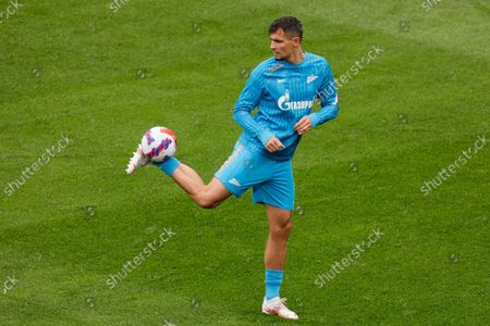 Stock Image of Dejan Lovren of Zenit in action during the warm-up ahead of the Russian Premier League match between FC Zenit Saint Petersburg and FC Akhmat Grozny on September 11, 2021 at Gazprom Arena in Saint Petersburg, Russia.