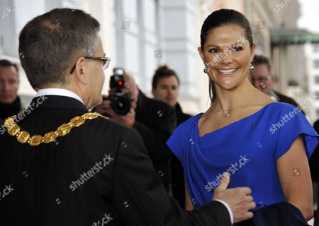 Stock Picture of Jussi Pajunen, Mayor of Helsinki and Crown Princess Victoria of Sweden