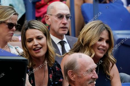 Stock Picture of Savannah Guthrie, second from left, NBA commissioner Adam Silver, rear center, and Jenna Bush Hager, right, watch play between Emma Raducanu, of Britain, and Leylah Fernandez, of Canada,during the women's singles final of the US Open tennis championships, in New York