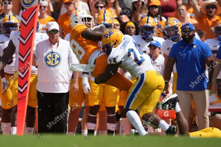 Tennessee Volunteers tight end Princeton Fant #88 is tackled by Pittsburgh Panthers linebacker Phil Campbell III #24 during the NCAA football game between the University of Tennessee Volunteers and the University of Pittsburgh Panthers at Neyland Stadium in Knoxville TN Tim Gangloff/CSM