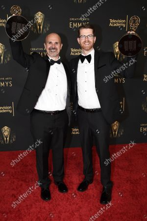 Sean Byrne and Ryan Kennedy with their awards for Outstanding Sound Mixing for a Comedy or Drama Series (Half-Hour) and Animation at the Media Center during night one of the Television Academy's 2021 Creative Arts Emmy Awards, in Los Angeles