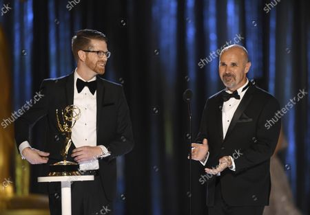Stock Picture of Sean Byrne, left, and Ryan Kennedy accept the award for Outstanding Sound Mixing for a Comedy or Drama Series (Half-Hour) and Animation during night one of the Television Academy's 2021 Creative Arts Emmy Awards at the L.A. LIVE Event Deck, in Los Angeles