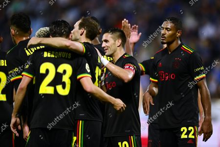 Ajax celebrates the 0-2 of Sebastien Haller of Ajax during the Dutch Eredivisie match between PEC Zwolle and Ajax at the MAC3Park stadium on September 11, 2021 in Zwolle, Netherlands.