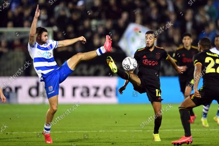 Mees de Wit of PEC Zwolle, Noussair Mazraoui of Ajax during the Dutch Eredivisie match between PEC Zwolle and Ajax at MAC3Park stadium on September 11, 2021 in Zwolle, Netherlands.
