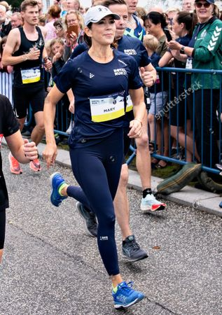 Crown Princess Mary of Denmark at the start of the race as she runs 5 km during the Royal Run in Aalborg, Denmark, 12 September 2021.