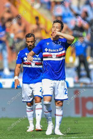 MAYA YOSHIDA (Sampdoria), celebrates after scoring a goal