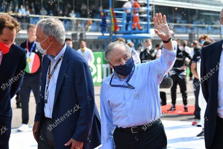 Chase Carey, Non Executive Chairman, Formula One, and Jean Todt, President, FIA, on the grid during the 2021 Formula One Italian Grand Prix