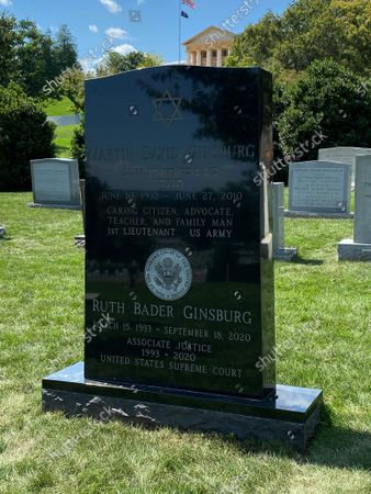 Stock Photo of Ruth Bader Ginsburg engraved headstone with her information and Supreme Court Seal. 1st anniversary of her death is on Monday, 13th September 2021.