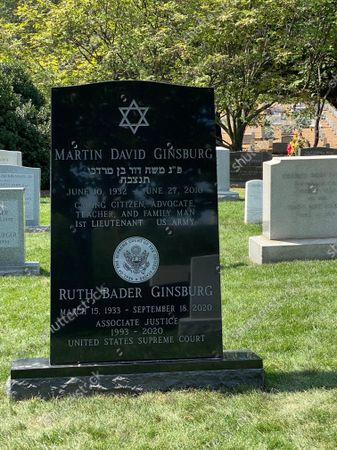 Stock Image of Ruth Bader Ginsburg engraved headstone with her information and Supreme Court Seal. 1st anniversary of her death is on Monday, 13th September 2021.