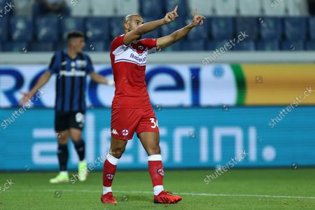 Sofyan Amrabat of Afc Fiorentina gestures during the Serie A match between Atalanta Bc and Acf Fiorentina.