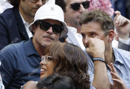 Us actors Brad Pitt (L) and Bradley Cooper (R) watch Daniil Medvedev of Russia play Novak Djokovic of Serbia during their men's final match on the fourteenth day of the US Open Tennis Championships at the USTA National Tennis Center in Flushing Meadows, New York, USA, 12 September 2021. The US Open runs from 30 August through 12 September.