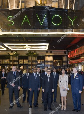 Stock Picture of Prince Al-Waleed bin Talal and his wife Princess Amira of Saudi Arabia, General Manager of The Savoy Kiaran MacDonald