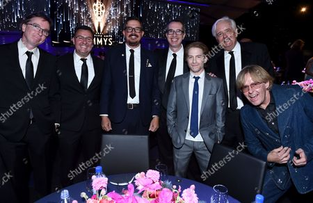 Stock Photo of Mark Munley, from left, Nate Pellettieri, Greg Postma, Matthew Senreich, Seth Green, Keith Crofford, and Tom Sheppard attend the second ceremony of the Television Academy's 2021 Creative Arts Emmy Awards at the L.A. LIVE Event Deck, in Los Angeles