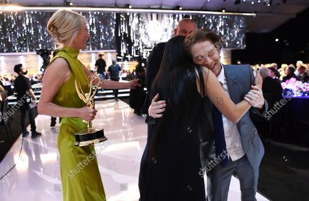 Cara Speller, from left, Jennifer Yuh Nelson, and Seth Green attend the second ceremony of the Television Academy's 2021 Creative Arts Emmy Awards at the L.A. LIVE Event Deck, in Los Angeles